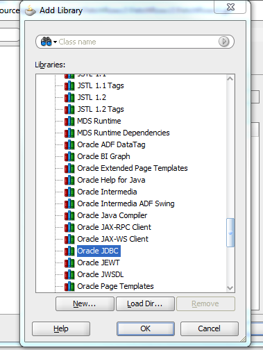 Adding the Oracle JDBC Drivers to a JDeveloper 11gR1 Project