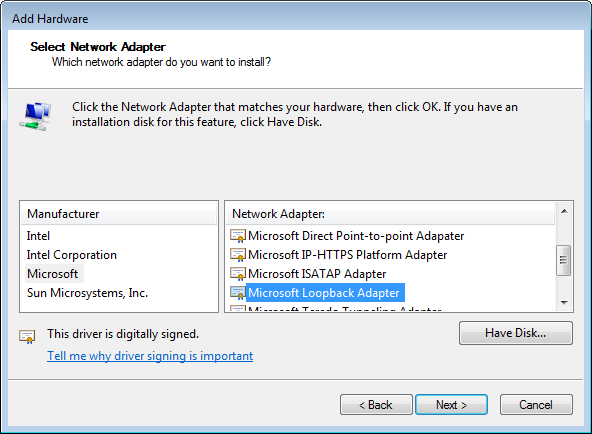 Configuring the Loopback Adapter on Microsoft Windows