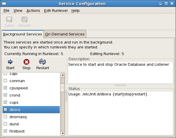 Automating Database Startup/Shutdown on Oracle Enterprise Linux