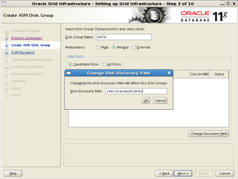 Install Oracle Grid Infrastructure 11gR2 with ASM on